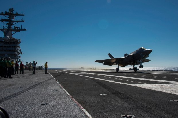 F-35C Joint Strike Fighter conducts its first arrested landing on an aircraft carrier.