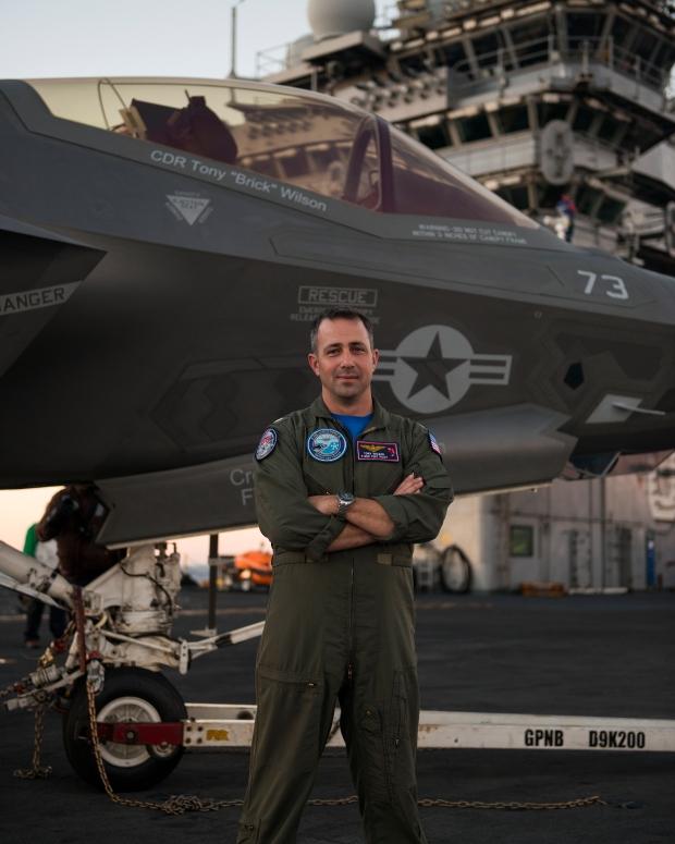 CDR Tony Wilson, F-35C Test Pilot aboard the USS Nimitz during CVN DT-1