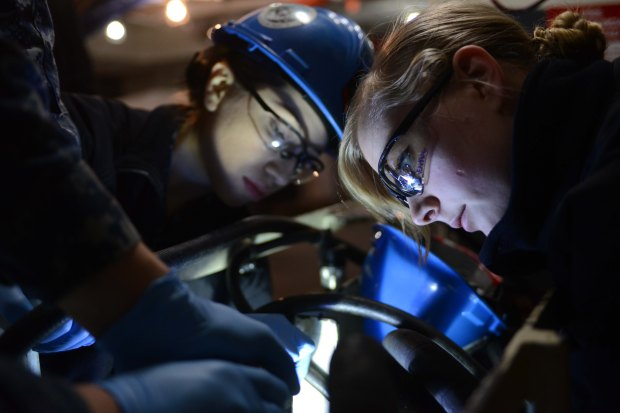 NAVAL BASE KITSAP-BREMERTON, Wash. (Feb. 04, 2016) – Aviation Ordnanceman 3rd Class Mayra Hernandez, a native of Atlanta, and Aviation Ordnanceman Airman Kassandra Verhaag, a native of Springdale, Wash., work on switching a release valve in the hangar bay of USS Nimitz (CVN 68). Nimitz is currently undergoing an extended planned incremental maintenance availability at Puget Sound Naval Shipyard and Intermediate Maintenance Facility, where the ship is receiving scheduled maintenance and upgrades. (U.S. Navy photo by Mass Communication Specialist Seaman Apprentice Liana N. Nichols/Released)