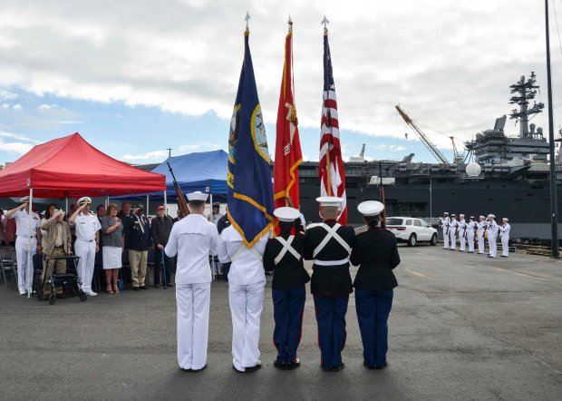NAVAL BASE KITSAP-BREMERTON, Wash. (June 3, 2016) –  Naval Base Kitsap honor guard parades the colors during a Battle of Midway ceremony. This month marks the 74th anniversary of the Battle of Midway, commonly referred to as the turning point to the war in the Pacific. U.S. Navy photo by Mass Communication Specialist Third Class Chad D. Anderson/Released)