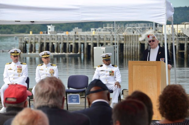 NAVAL BASE KITSAP-BREMERTON, Wash. (June 3, 2016) –  WWII veteran William Lent gives a speech during a Battle of Midway ceremony. This month marks the 74th anniversary of the Battle of Midway, commonly referred to as the turning point to the war in the Pacific. U.S. Navy photo by Mass Communication Specialist Third Class Chad D. Anderson/Released)