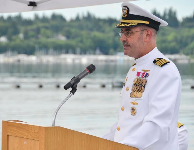 NAVAL BASE KITSAP-BREMERTON, Wash. (June 3, 2016) – Capt. John Ring, commanding officer of the aircraft carrier USS Nimitz (CVN 68) speaks to guests during a Battle of Midway ceremony. This month marks the 74th anniversary of the Battle of Midway, commonly referred to as the turning point to the war in the Pacific. (U.S. Navy photo by Mass Communication Specialist 3rd Class Chad D. Anderson/Released)