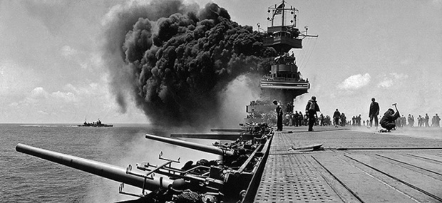 USS Yorktown's valiant fight to survive during the Battle of Midway. (Photo courtesy of the U.S. Navy)