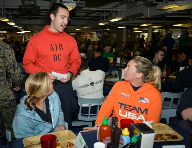 PACIFIC OCEAN (Dec. 6, 2016) Professional Tennis Players Coco Vandeweghe and Shelby Rogers interact with Sailors on the mess decks during a visit onboard the aircraft carrier USS Nimitz (CVN 68). Nimitz is currently underway conducting Tailored Ship's Training Availability and Final Evaluation Problem (TSTA/FEP), which evaluates the crew on their performance during training drills and real-world scenarios. Once Nimitz completes TSTA/FEP they will begin Board of Inspection and Survey (INSURV) and Composite Training Unit Exercise (COMPTUEX) in preparation for an upcoming 2017 deployment. (U.S. Navy photo by Petty Officer 3rd Class Chad D. Anderson/Released)