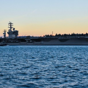 170131-N-SH284-108 PORT ORCHARD, Wash. (Jan. 31, 2017) USS Nimitz (CVN 68) transits Sinclair Inlet after getting underway from Puget Sound Naval Shipyard. Nimitz is underway conducting the Navy's Board of Inspection and Survey (INSURV), which is a periodic inspection to ensure the ship meets Navy standards. (U.S. Navy photo by Mass Communication Specialist 2nd Class Vaughan Dill/Released)