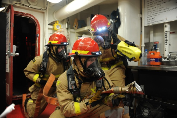 Nimitz Sailors practice general quarters drill