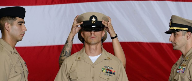 Sailors participate in chief pinning ceremony