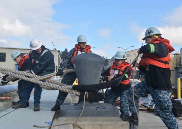 USS Nimitz Moves Into Dry Dock